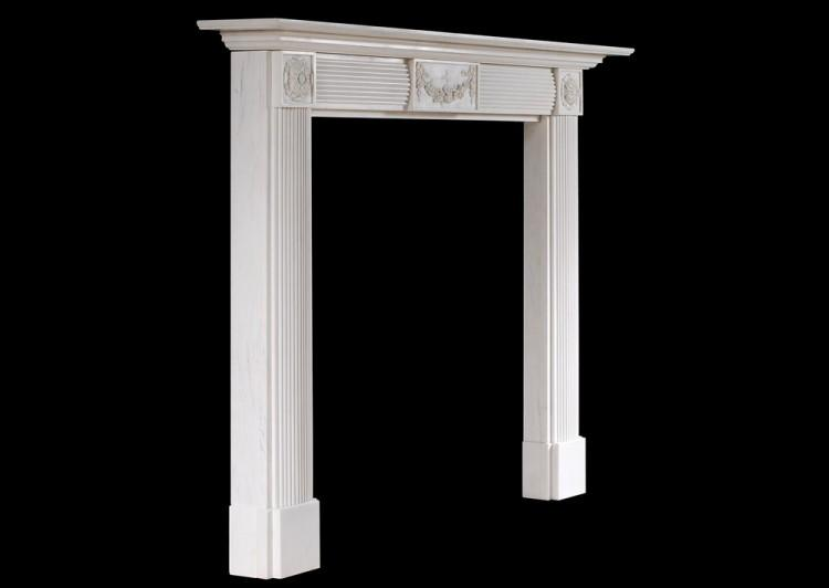 AN ENGLISH WHITE MARBLE FIREPLACE IN THE REGENCY STYLE-Detail3