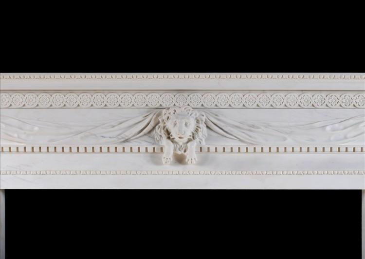 A WHITE MARBLE FIREPLACE WITH CARVED LION'S MASK-Detail1