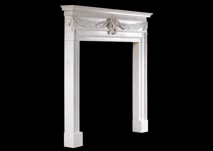 A WHITE MARBLE FIREPLACE WITH CARVED LION'S MASK-Detail4