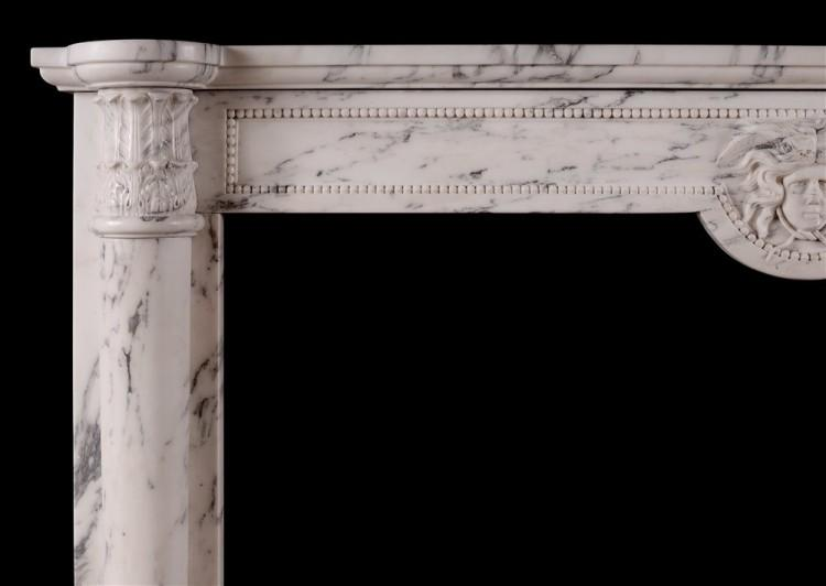 AN ANTIQUE FRENCH LOUIS XVI STYLE FIREPLACE IN VEINED STATUARY MARBLE-Detail1