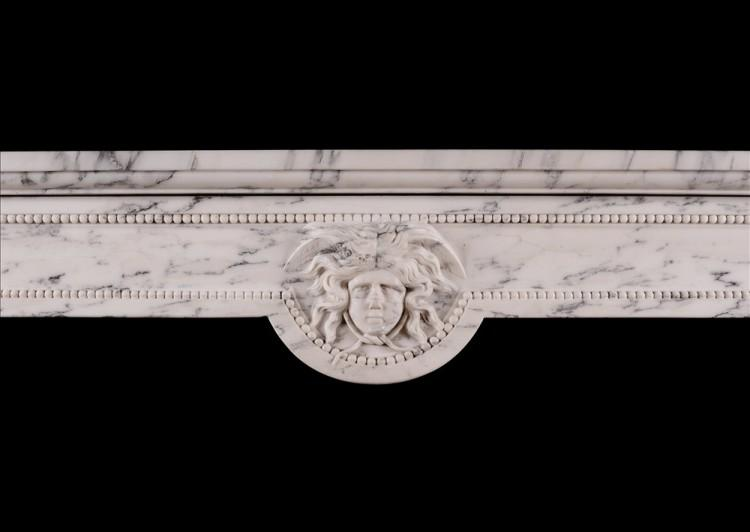 AN ANTIQUE FRENCH LOUIS XVI STYLE FIREPLACE IN VEINED STATUARY MARBLE-Detail2
