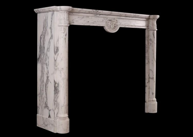 AN ANTIQUE FRENCH LOUIS XVI STYLE FIREPLACE IN VEINED STATUARY MARBLE-Detail3