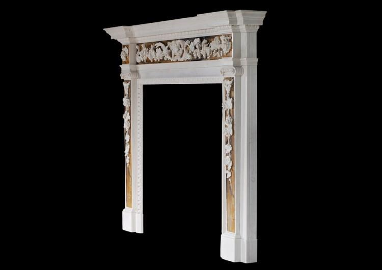 AN ENGLISH GEORGE II WHITE MARBLE FIREPLACE WITH SIENA INLAY-Detail5