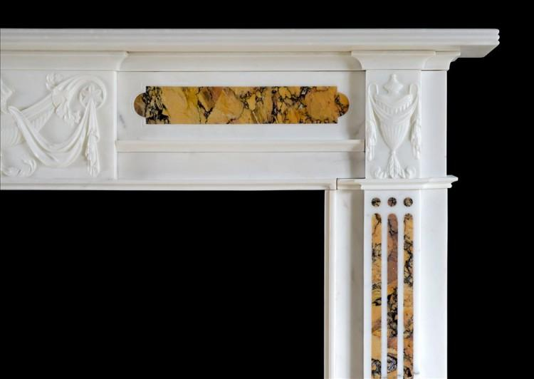 A LATE GEORGIAN ANTIQUE STATUARY AND SIENA MARBLE CHIMNEYPIECE-Detail1