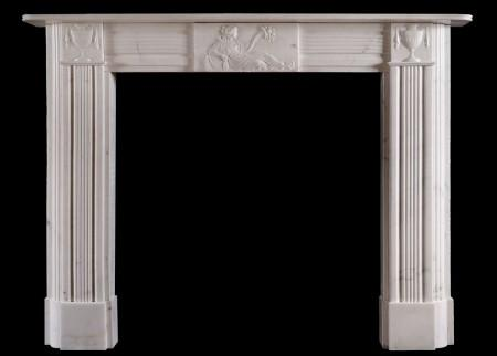 A PERIOD REGENCY FIREPLACE IN STATUARY MARBLE