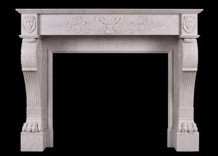 A 19TH CENTURY ITALIAN FIREPLACE IN CARRARA MARBLE