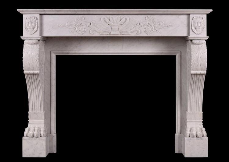 A 19th century Regency fireplace in Carrara marble