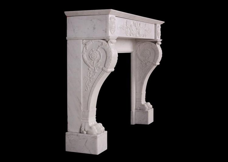 A 19TH CENTURY ITALIAN FIREPLACE IN CARRARA MARBLE-Detail5