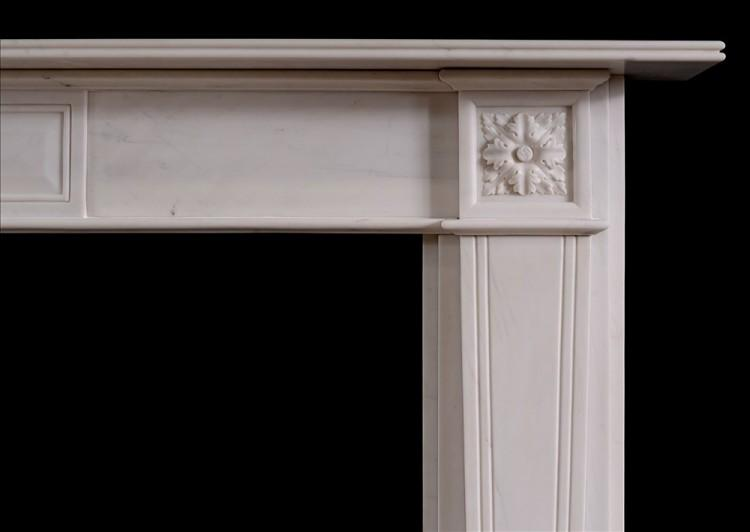 A REGENCY STYLE WHITE MARBLE FIRE SURROUND-Detail1