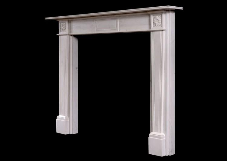 A REGENCY STYLE WHITE MARBLE FIRE SURROUND-Detail3