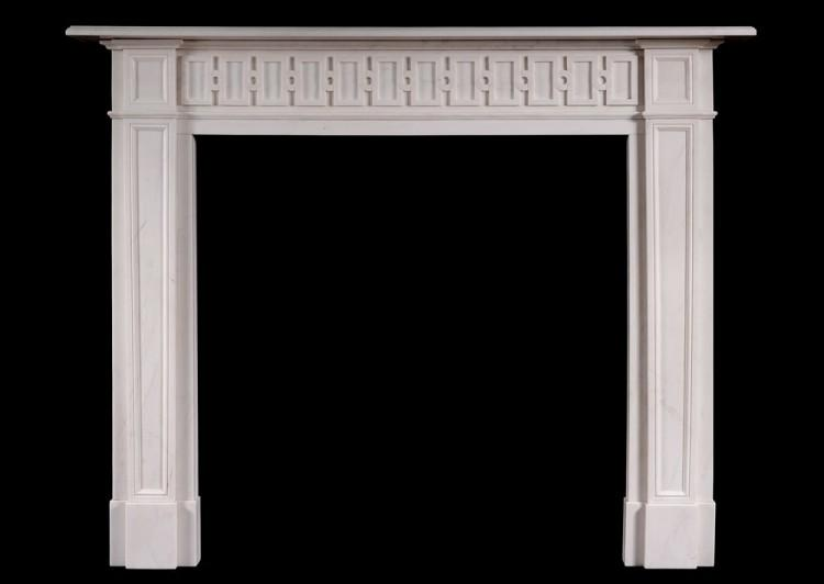 A Chippendale Inspired White Marble Fire Surround