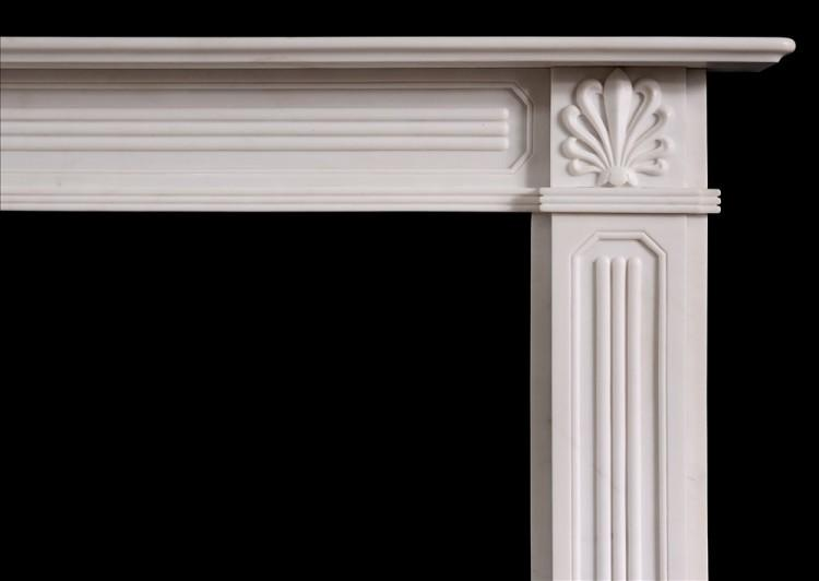 A REGENCY STYLE WHITE MARBLE FIREPLACE-Detail1