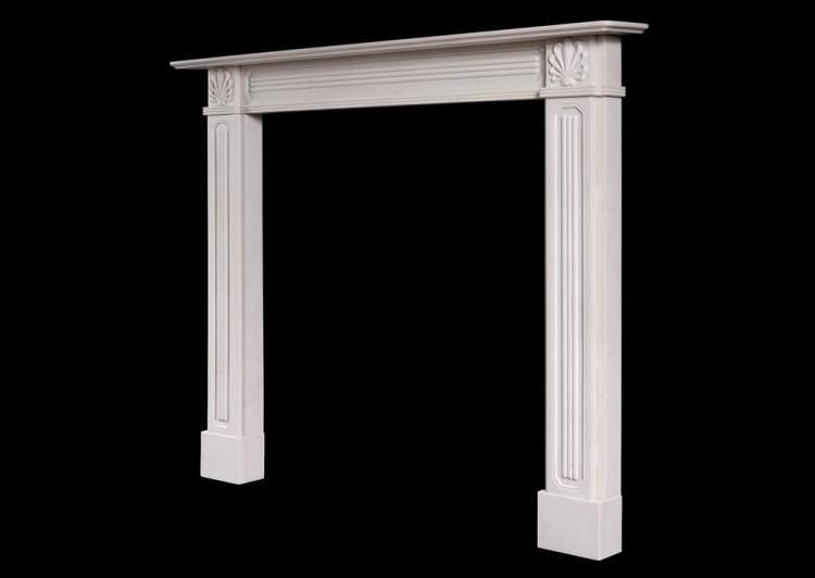 A REGENCY STYLE WHITE MARBLE FIREPLACE-Detail2