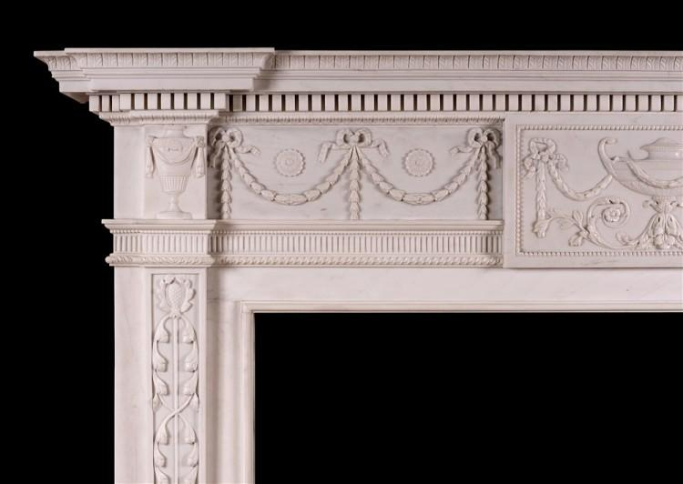 A WHITE MARBLE FIREPLACE IN THE MANNER OF ROBERT ADAM-Detail1