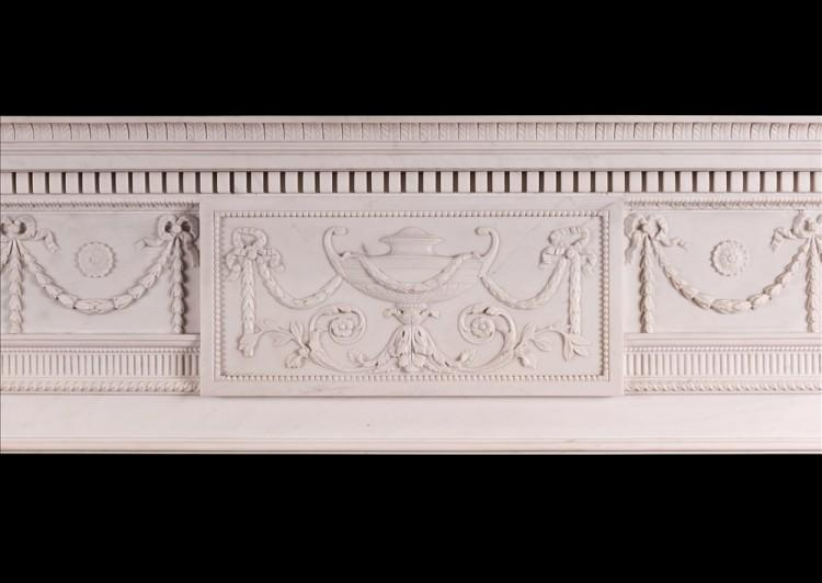 A WHITE MARBLE FIREPLACE IN THE MANNER OF ROBERT ADAM-Detail2