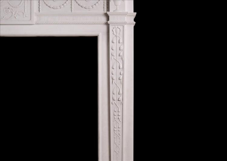 A WHITE MARBLE FIREPLACE IN THE MANNER OF ROBERT ADAM-Detail3