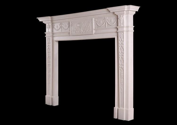 A WHITE MARBLE FIREPLACE IN THE MANNER OF ROBERT ADAM-Detail4