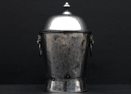 A POLISHED STEEL COAL ENGLISH BUCKET