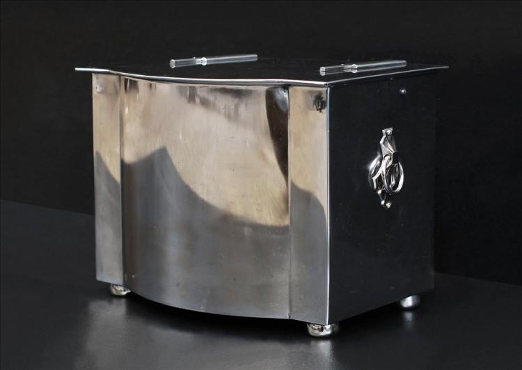 A polished steel coal bucket