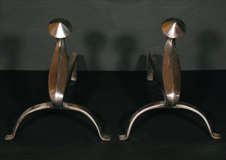 A pair of polished steel firedogs – 12 inch