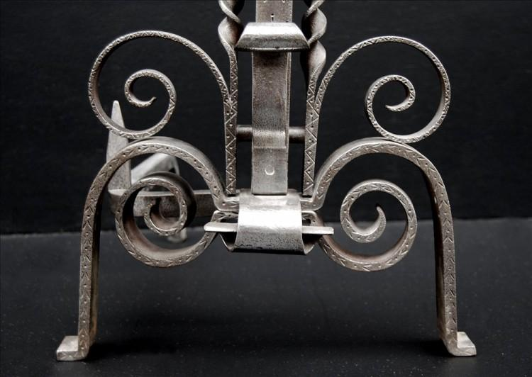 A PAIR OF UNUSUAL 19TH CENTURY ENGLISH STEEL FIREDOGS-Detail1