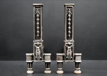 A PAIR OF STEEL FIREDOGS