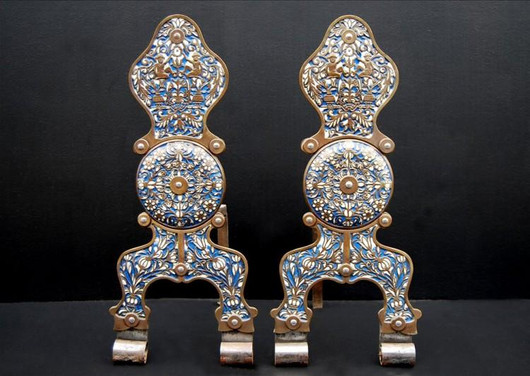 An unusual pair of English cloisonne firedogs in the 17th century style