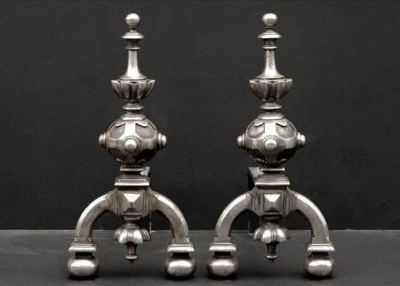 A PAIR OF 19TH CENTURY NEO GOTHIC FIREDOGS
