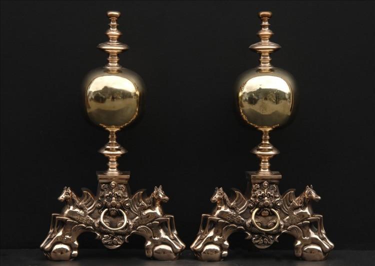 An impressive pair of brass firedogs – 16.5 inch
