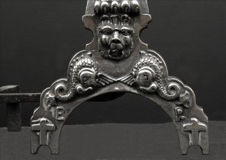 A PAIR OF CAST IRON FIREDOGS IN THE BAROQUE STYLE-Detail1