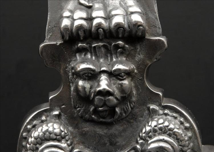 A PAIR OF CAST IRON FIREDOGS IN THE BAROQUE STYLE-Detail2