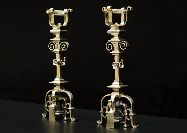 A PAIR OF FINE QUALITY FRENCH GOTHIC REVIVAL BRASS CHENETS-Detail3