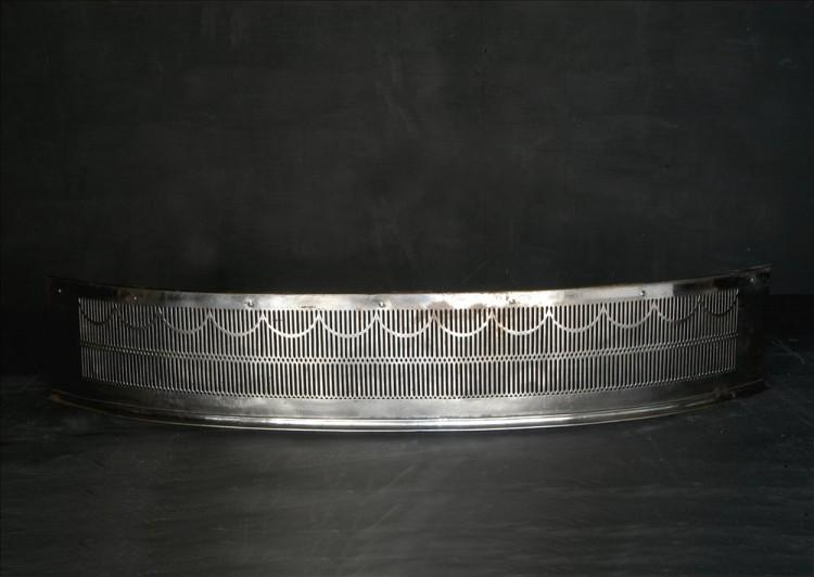 An English bowed polished steel fender – 1840