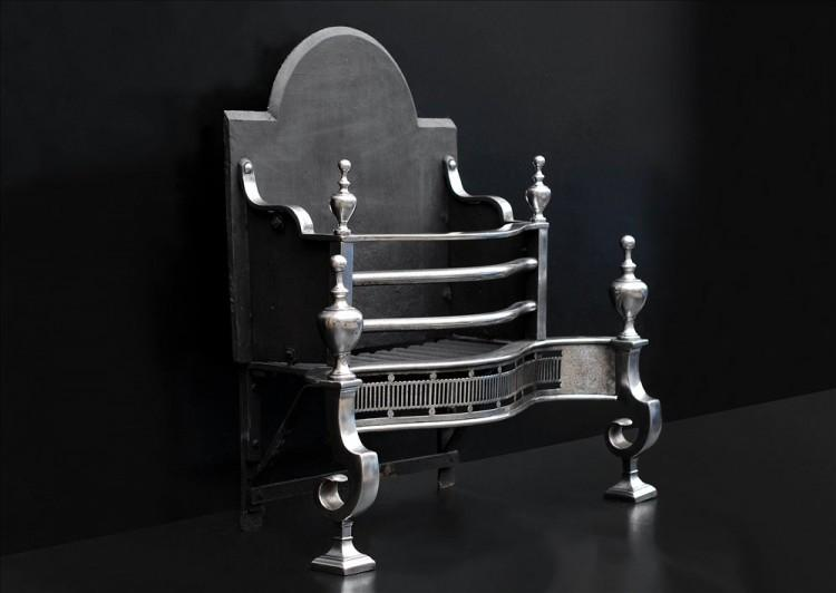 A POLISHED STEEL FIRE BASKET IN THE GEORGIAN STYLE-Detail4
