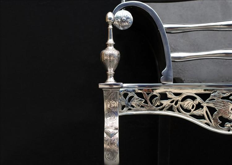 A NICELY ENGRAVED STEEL AND NICKEL FIREBASKET-Detail1