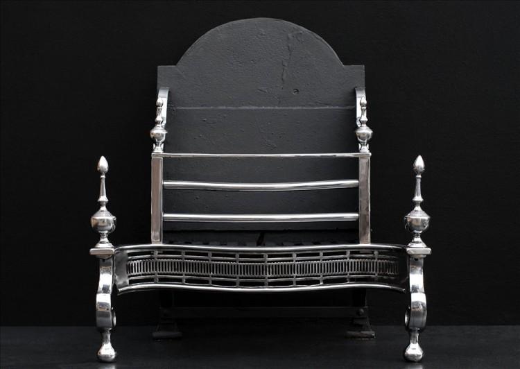 A 19th century Georgian style polished steel firebasket