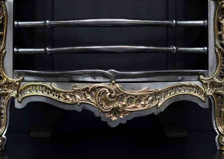 A ROCOCO STYLE BRASS AND STEEL FIRE GRATE-Detail1