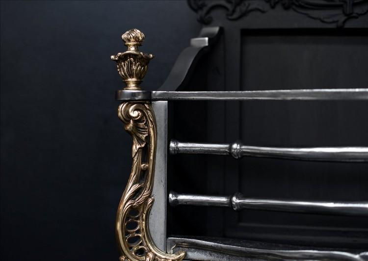 A ROCOCO STYLE BRASS AND STEEL FIRE GRATE-Detail2