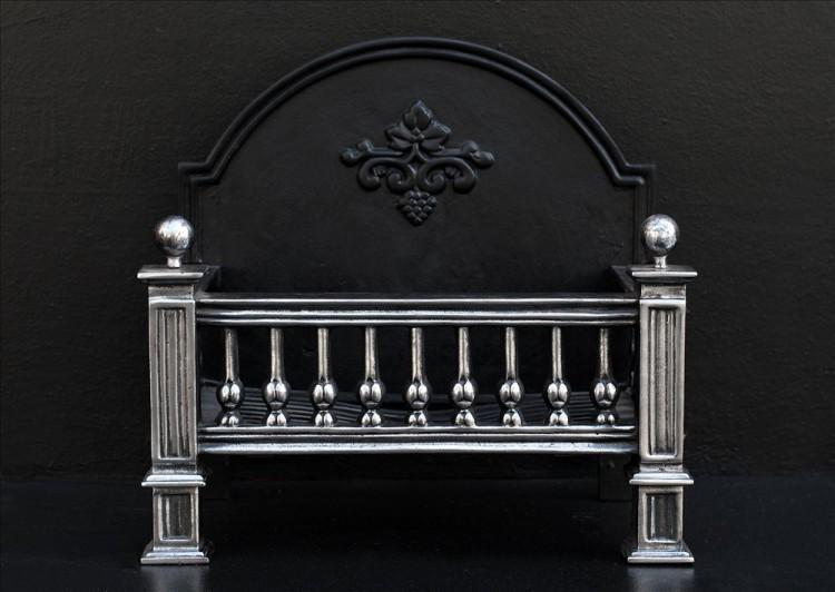An English polished cast iron firebasket