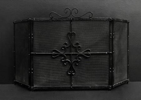 AN IRON THREE-FOLD FIRESCREEN