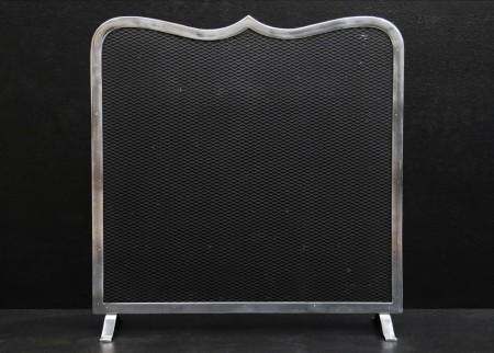 A STEEL FIRESCREEN WITH SHAPED TOP