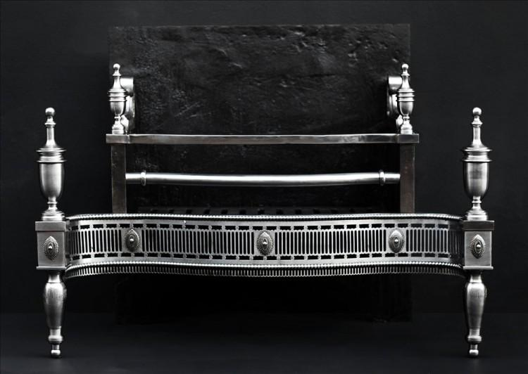 A George III style steel firegrate