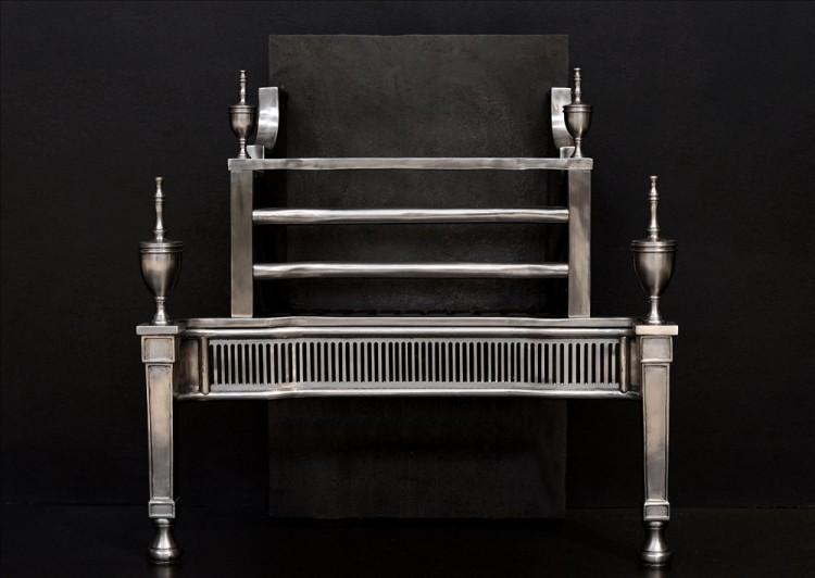 An elegant Georgian style polished steel firegrate