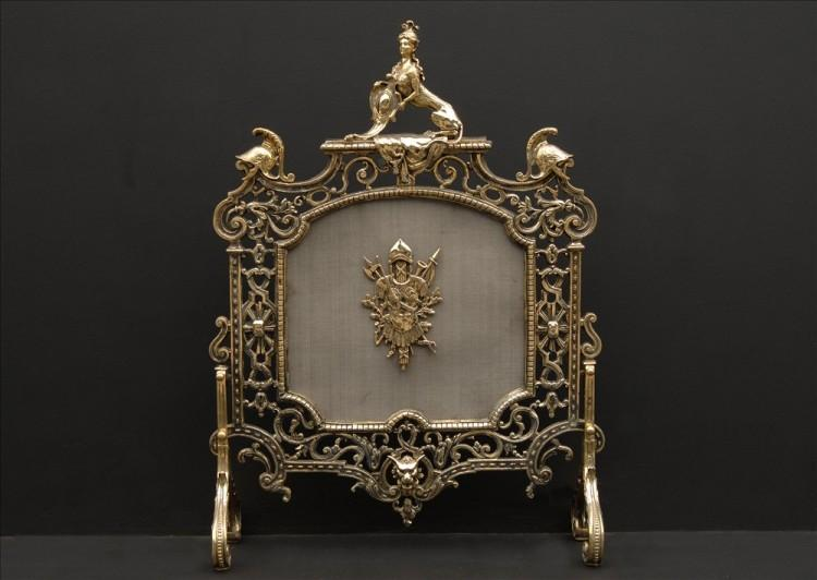 A good quality brass firescreen