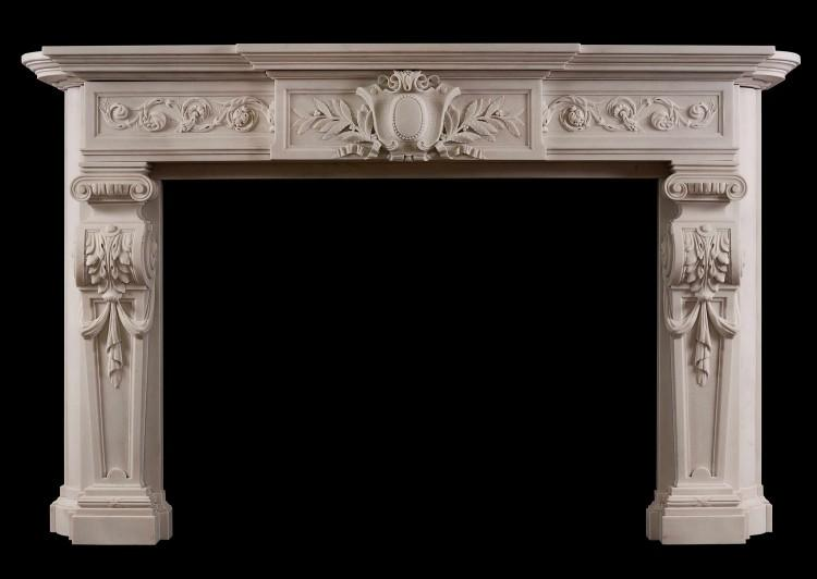 A large and impressive French Statuary marble fireplace