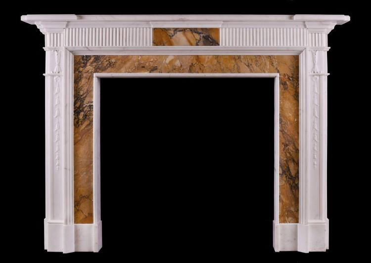 An English Statuary and Siena marble fireplace