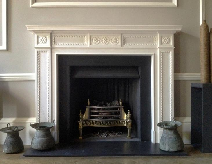 Superb Reproduction Georgian Fireplaces Part - 1: As A Dramatic Contrast To The Classicism Of The Late Georgian Fireplace  Above, This Dark Marble Queen Anne Fireplace Really Makes A Theatrical  Statement.