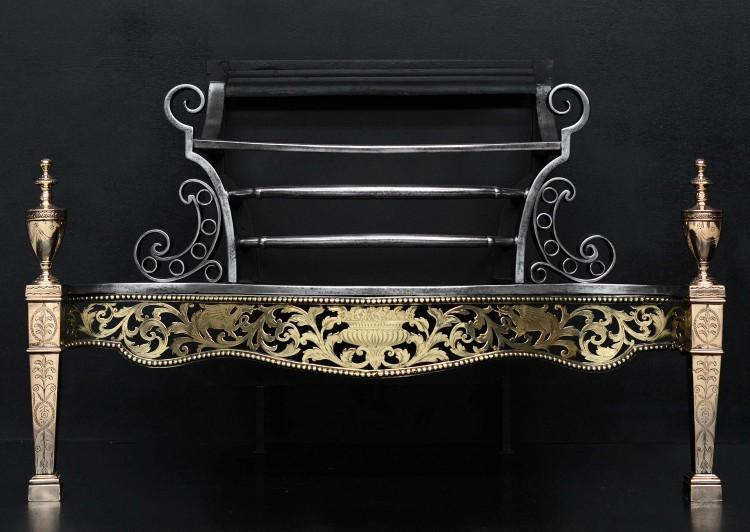 An impressive brass and steel neo-classical firegrate