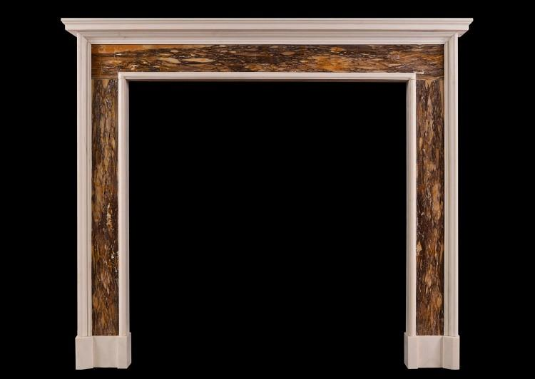 A white and Siena Brocatelle marble fireplace in the Queen Anne style