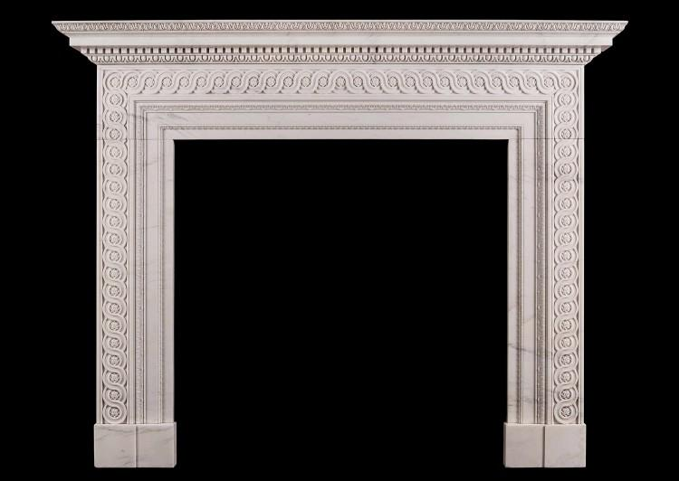 A Georgian marble fireplace in the manner of James Adam